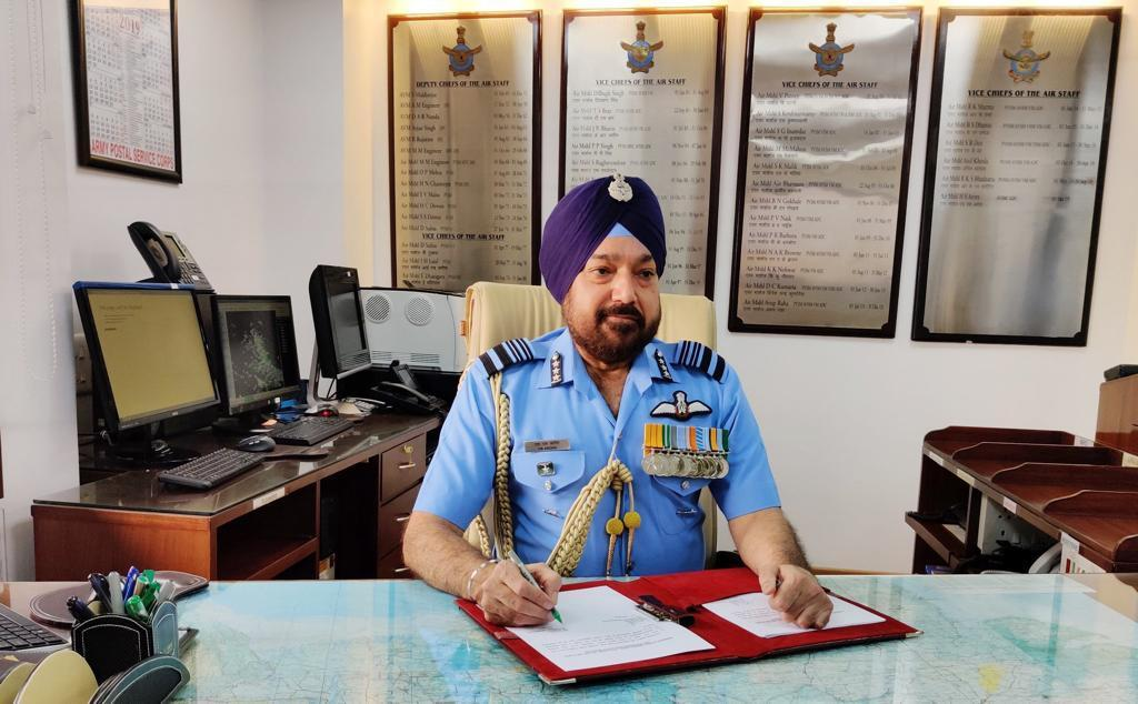 Vice Chief of the IAF, Air Marshal HS Arora at his office in New Delhi on Tuesday