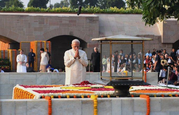 Prime Minister Narendra Modi pays tribute at Raj Ghat