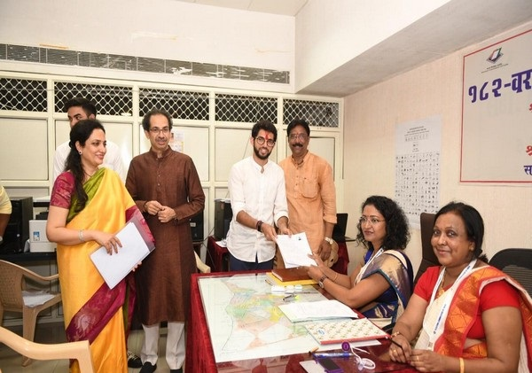 Shiv Sena leader Aaditya Thackeray filing nomination at the office of Returning Officer in Mumbai on Thursday