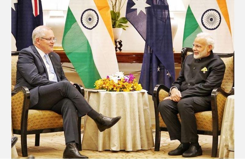 Australian Prime Minister Scott Morrison (L) met Indian Prime Minister Narendra Modi (R) (File Photo)