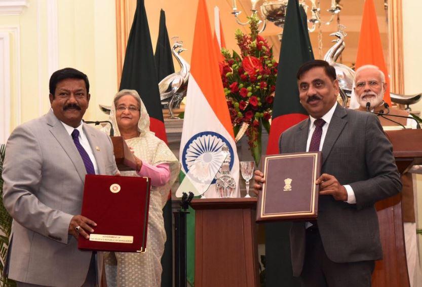 Prime Minister Narendra Modi and his Bangladesh counterpart Sheikh Hasina