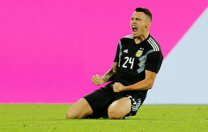 Argentina's Lucas Ocampos celebrates scoring their second goal