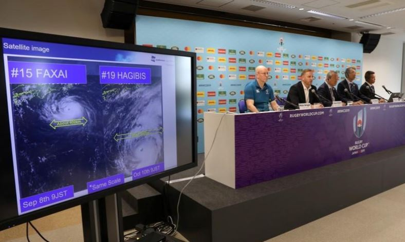World Rugby give update on preparations for Typhoon Hagibis  A satellite image showing Typhoon Hagibis is displayed during a press conference