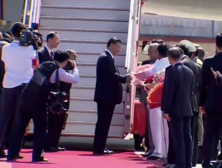 Chinese President Xi Jinping arrived at the Chennai International Airport
