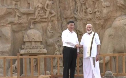 Chinese President Xi Jinping, Prime Minister Narendra Modi at Arjuna's Penance in Mahabalipuram on Friday