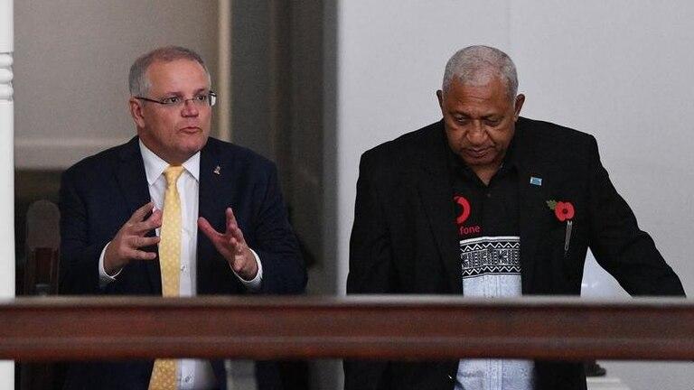Australian Prime Minister Scott Morrison and Fijian Prime Minister Frank Bainimarama
