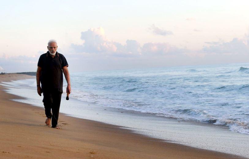 Prime Minister Narendra Modi at a beach in Mamallapuram