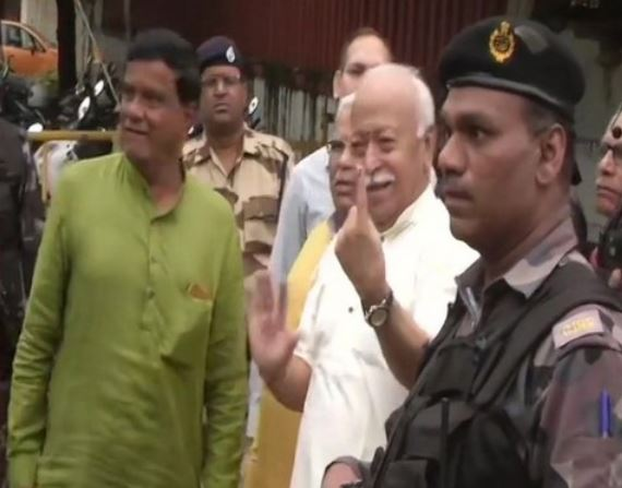 RSS chief Mohan Bhagwat casts his vote in Maharashtra assembly elections on Monday