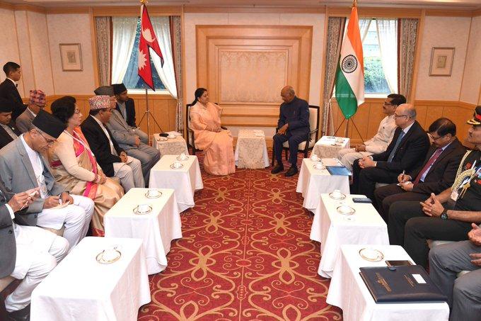 President Ram Nath Kovind and Nepal counterpart Bidya Devi Bhandari  in Tokyo