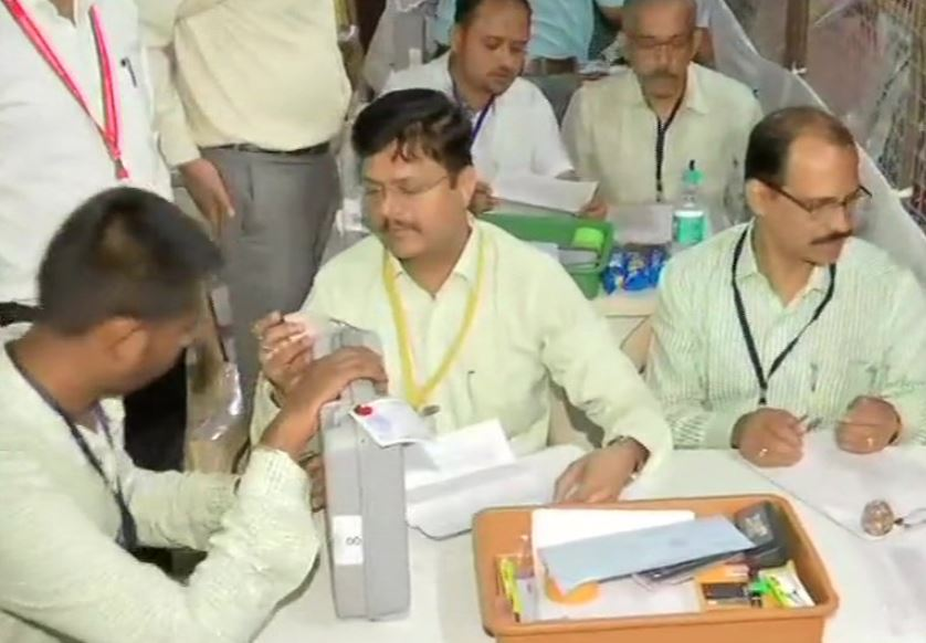 Counting of cotes underway at Colaba counting centre in Mumbai on Thursday morning