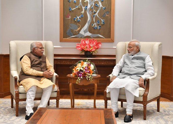 Haryana Chief Minister Manohar Lal Khattar meets  Prime Minister Narendra Modi