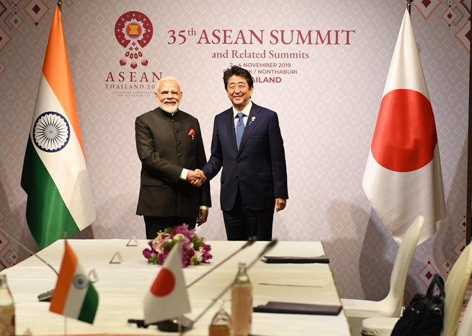 Prime Minister Narendra Modi met his Japanese counterpart Shinzo Abe