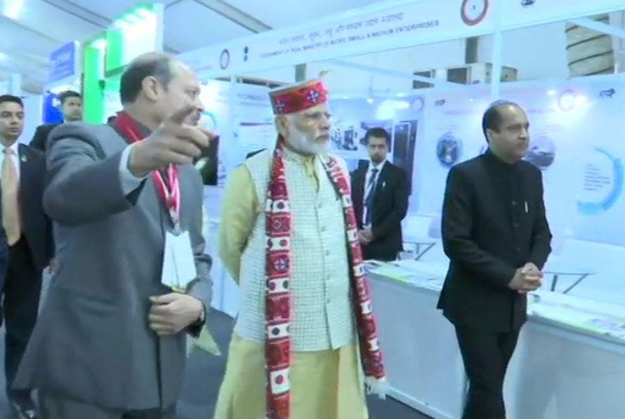Prime Minister Narendra Modi at the exhibition in Dharmshala on Thursday