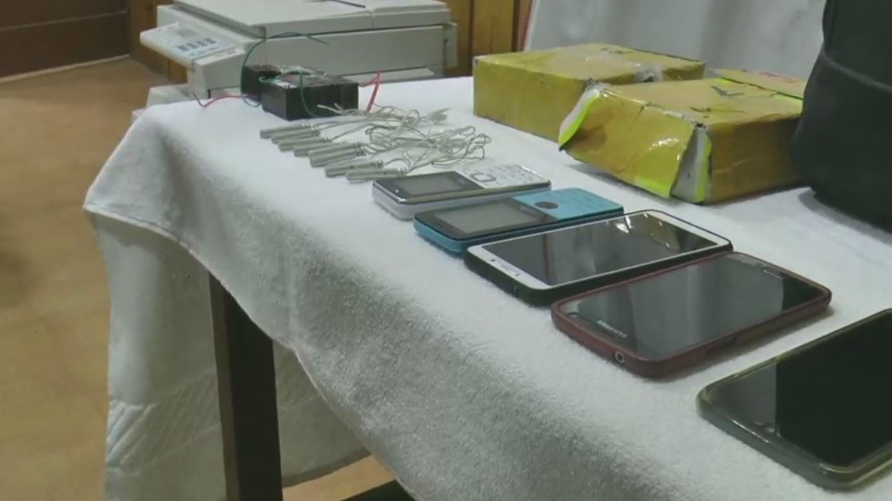 The seized items on display after five PLA members were arrested