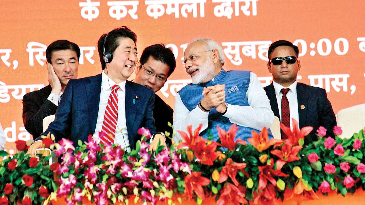 Japanese Prime Minister Shinzo Abe and Prime Minister Narendra Modi