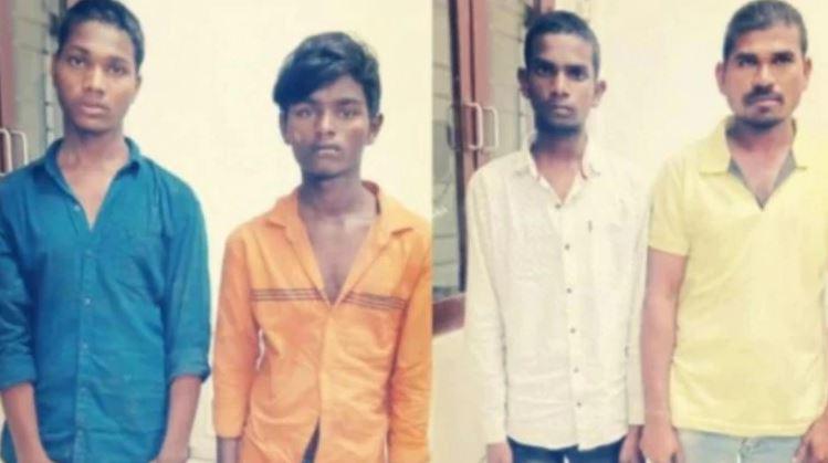 Mohammad Areef (in yellow T-shirt), Jollu Shiva (in white shirt), Jollu Naveen (in blue shirt), and Chintakunta Chennakeshavulu (in orange shirt).