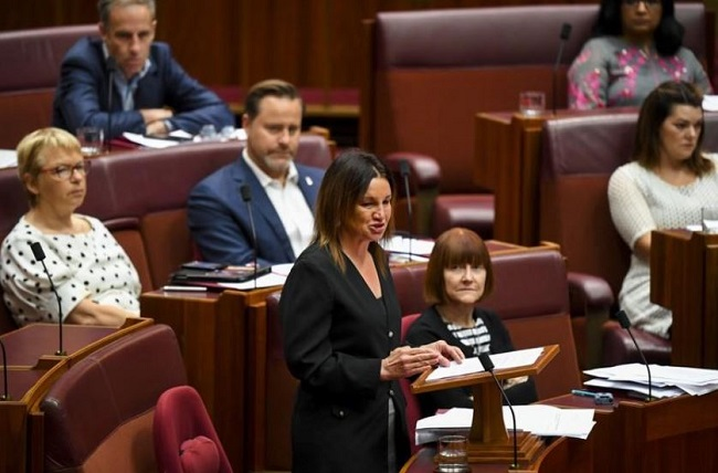 Crossbench Senator Jacqui Lambie speaks during debate in the Senate chamber at Parliament House in Canberra