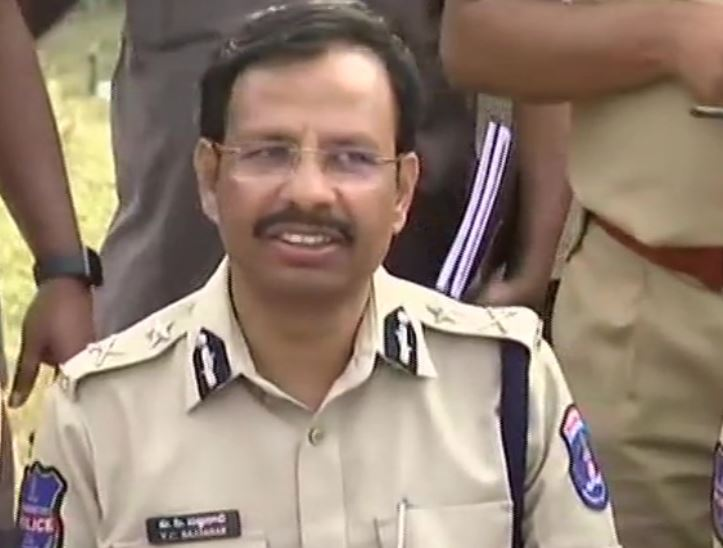 Cyberabad Police Commissioner VC Sajjanar briefing media persons about the police encounter in Hyderabad on Friday