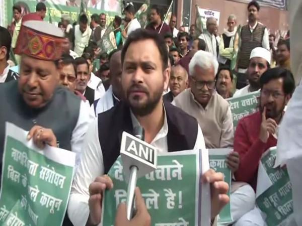 RJD leader Tejashwi Yadav speaking to ANI in Patna on Wednesday