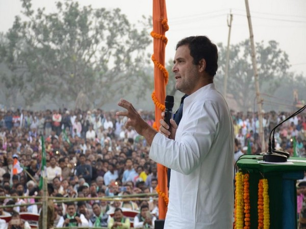 Congress leader Rahul Gandhi speaking at a rally in Rajmahal, Jharkhand on Thursday