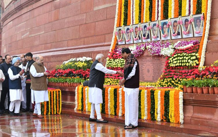Prime Minister Narendra Modi paying floral tribute to people killed in 2001 Parliament attack on Friday