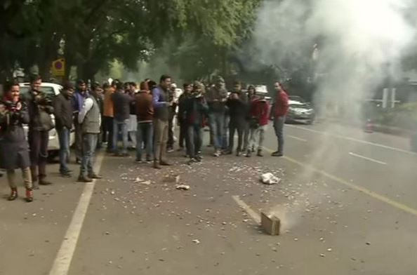 Congress workers celebrating outside AICC office on Monday