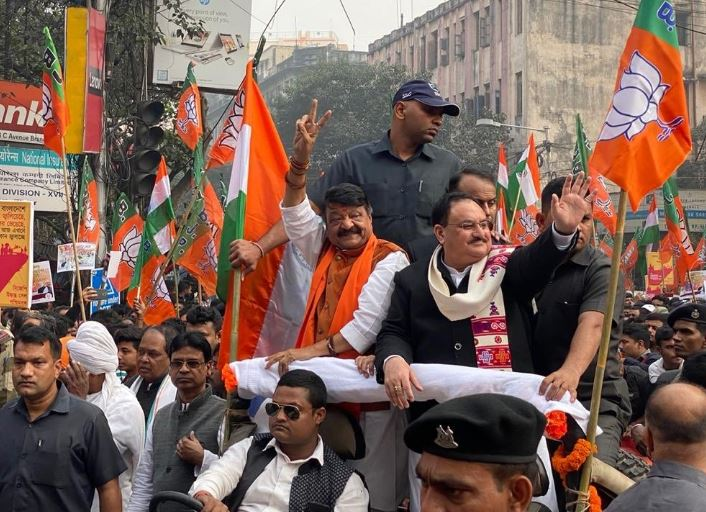BJP working president JP Nadda and party general secretary in-charge of West Bengal Kailash Vijayvargiya at a march in support of Citizenship Act in Kolkata on Monday