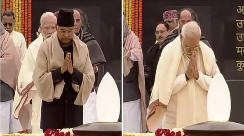 President Ram Nath Kovind and Prime Minister Narendra at the 'Sadaiv Atal' memorial in New Delhi on Wednesday
