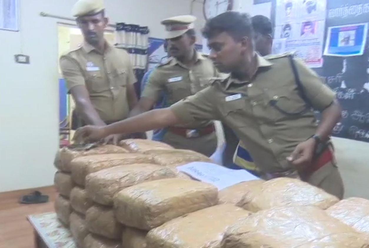 80 kg cannabis (ganja) was seized from a vehicle in Rameswaram
