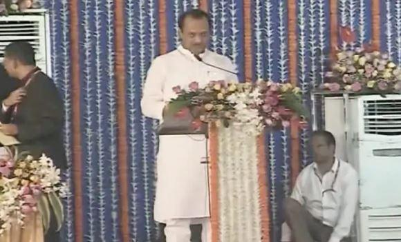 Ajit Pawar taking oath as Deputy Chief Minister