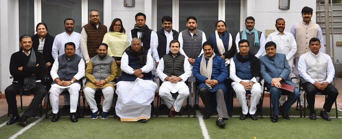 Newly elected Congress Ministers in Maharashtra with Congress leader Rahul Gandhi