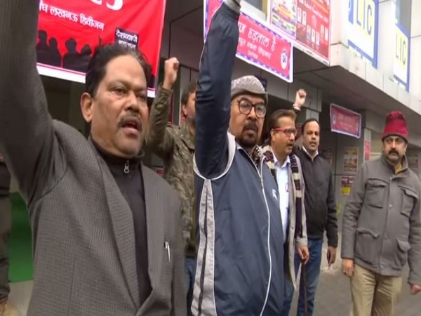 LIC employess protesting against government's anti-labour policies on Wednesday