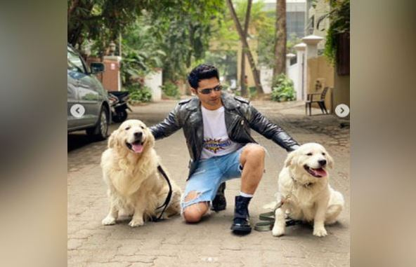 Actor Varun Dhawan with his pets