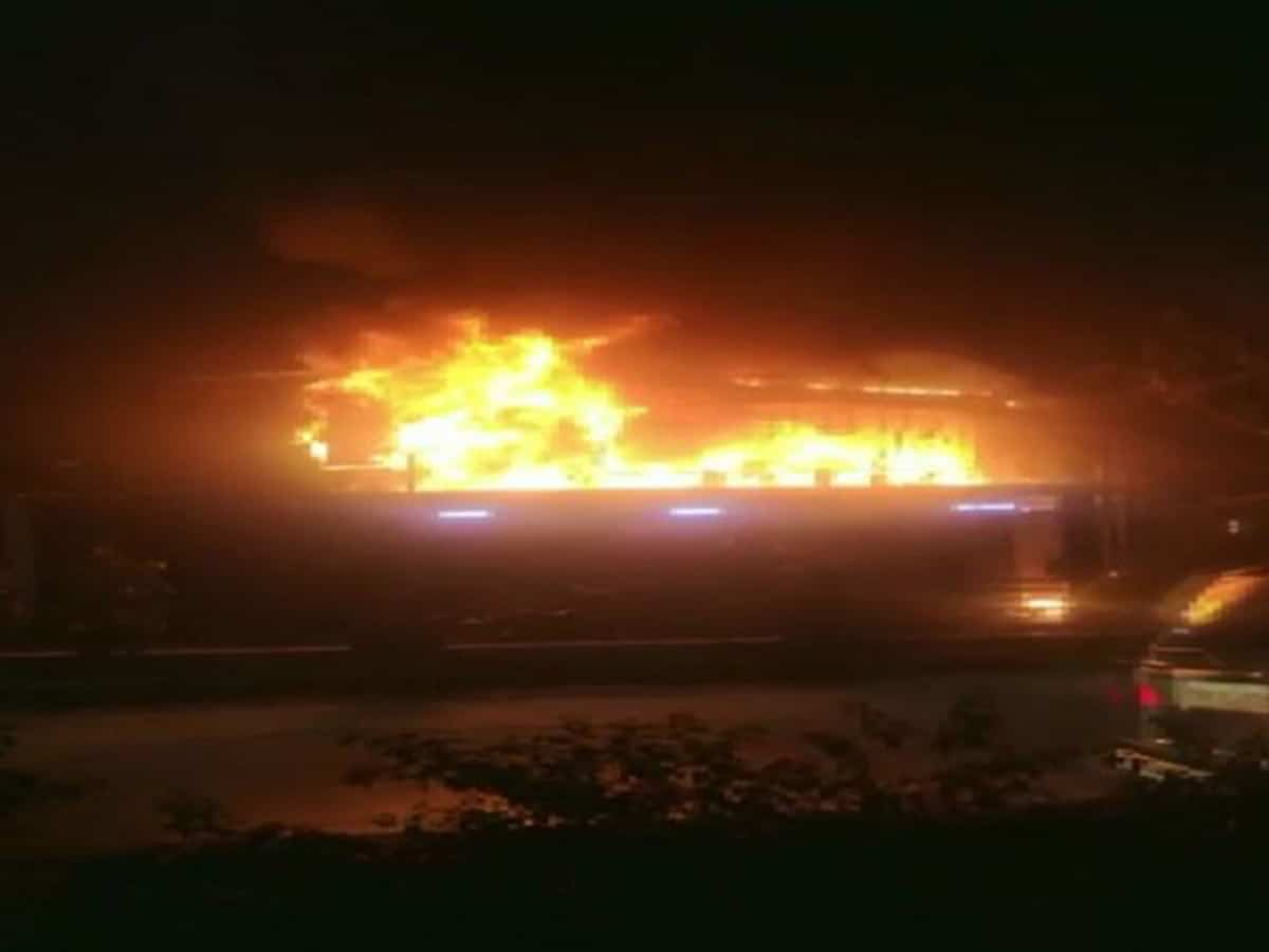 A fire broke out at a car service center in Hyderabad