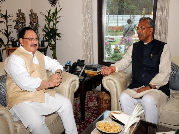 Uttarakhand Chief Minister Trivendra Singh Rawat meets JP Nadda in Delhi