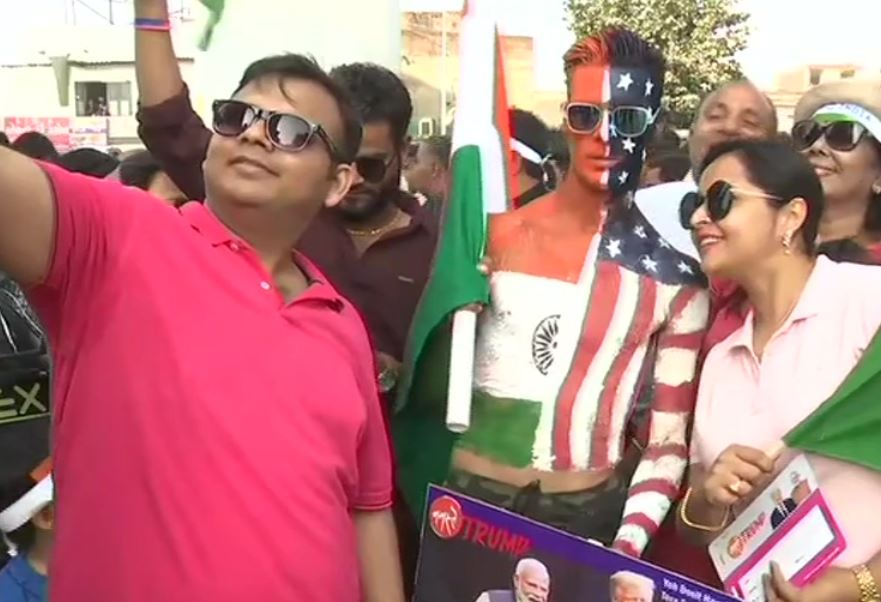 People form queues outside Motera Stadium in Ahmedabad