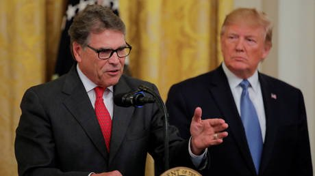 US Energy Secretary Dan Brouillette with US President Donald Trump at an interaction with business leaders