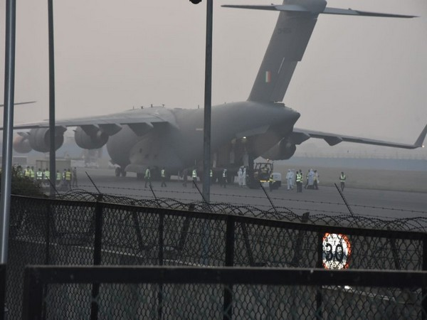 C-17 Globemaster aircraft of the Indian Air Force arrived from China's Wuhan on Thursday morning