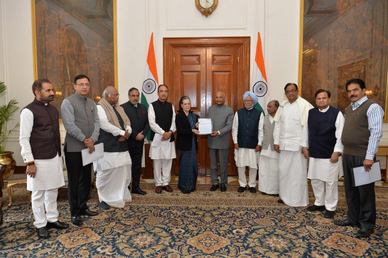Congress interim President Sonia Gandhi submittes a memorandum to President Ram Nath Kovind