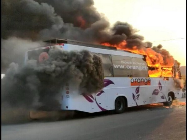 Bus catches fire in Hyderabad