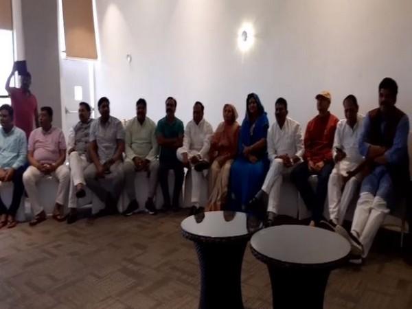 Rebel Congress MLAs during a press brief in Bengaluru