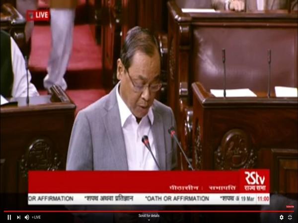 Former Chief Justice of India Ranjan Gogoi taking oath in Rajya Sabha