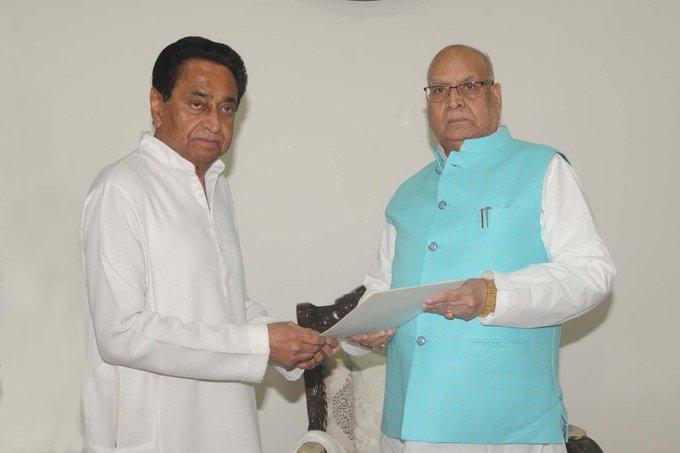 Madhya Pradesh Chief Minister Kamal Nath while giving his resignation to Governor Lalji Tandon