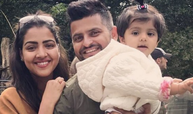 Suresh Raina and his wife Priyanka Raina and daughter Gracia Raina