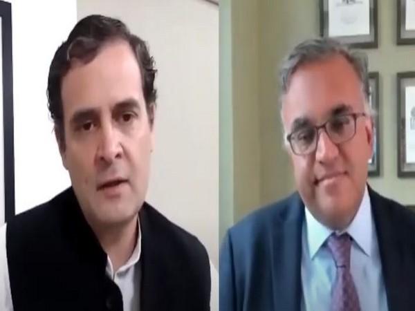 Congress leader Rahul Gandhi interacting with Harvard Professor Ashish Jha