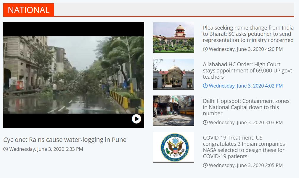 Top 10 Headlines of the day: National, Politics and Cyclone Nisarga Impact