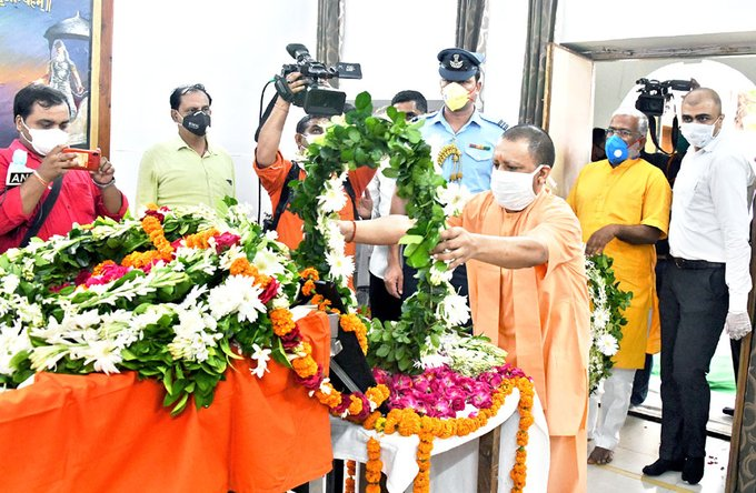 Uttar Pradesh Chief Minister Yogi Adityanath pays last respects to Governor of , Lalji Tandon