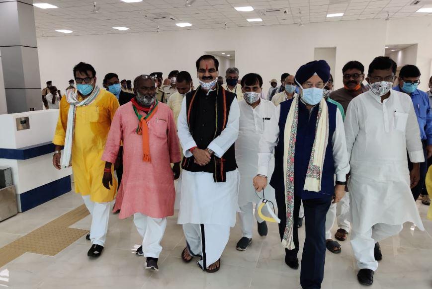Union Civil Aviation Minister Hardeep Singh Puri inspecting Darbhanga airport on Saturday