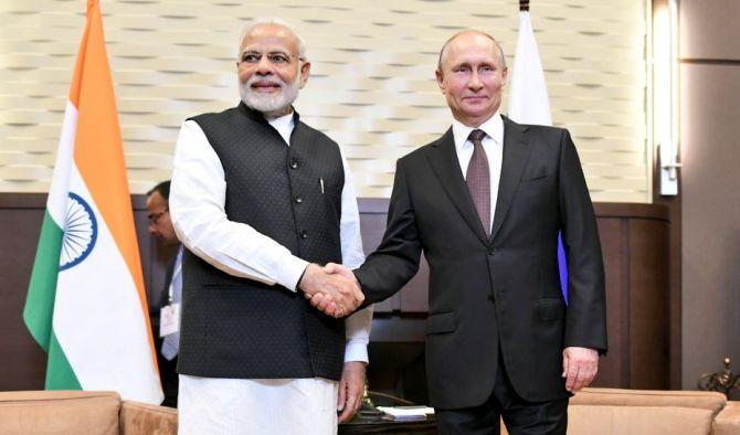 Russian President Vladimir Putin  and Prime Minister Narendra Modi
