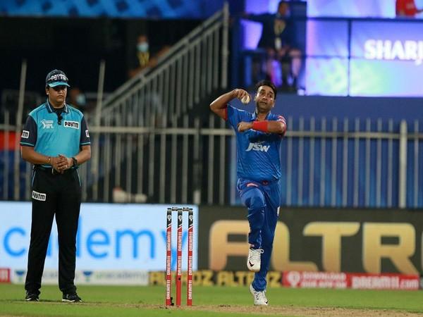 Delhi Capitals' spinner Amit Mishra in action against KKR at Sharjah